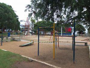 Proibido o acesso ao parque Jona Ramos, local foi fechado no fim de semana.(Foto: Natália Lima / Prefeitura de Lages)