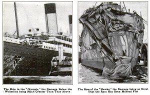 Fotografias relatam a gravidade do acidente entre o RMS Olympic e o HMS Hawke / Crédito: Wikimedia Commons