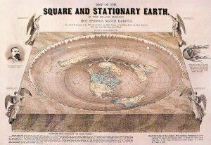 Mapa da Terra plana desenhado por Orlando Ferguson em 1893 / Crédito: Wikimedia Commons
