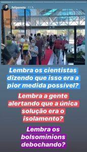Desabafo feito pelo youtuber Felipe Neto sobre a situação do coronavírus em Blumenau(Foto: Reprodução, Instagram)