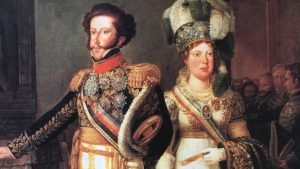 Pintura de Dom Pedro I e Maria Leopoldina, sua primeira esposa.(Foto: Reprodução)