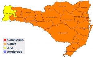 Mapa de risco divulgado pelo governo nesta quinta-feira (Foto: SES, Divulgação)